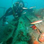 Plonger du bord sur l'épave de la bouée Borha 2 laboratoire du commandant Cousteau