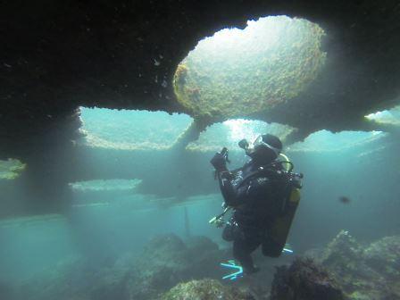 épave sous-marine du ponton bigue samsonne